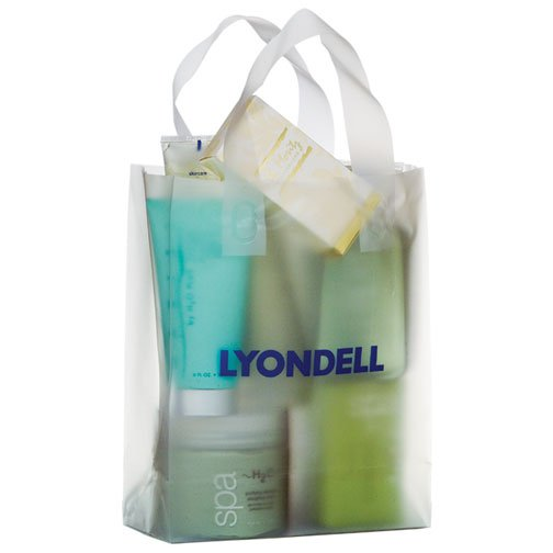 8 x 11 x 4 Frosted Plastic Shopping Bags, Ink Imprint