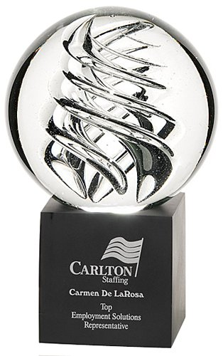 Large Frosted Swirl Art Glass Awards
