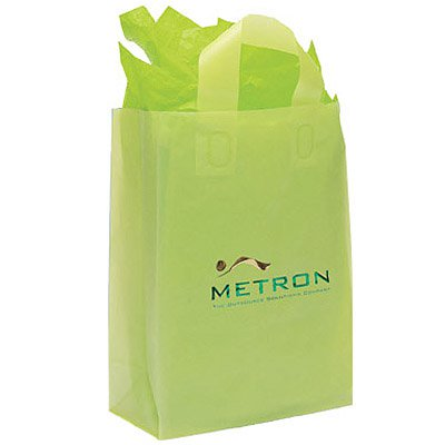 10 x 13 x 5 Frosted Brite Plastic Shopping Bags, Foil Stamped