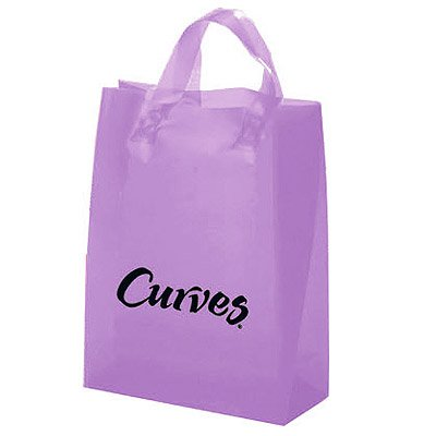 8 x 10 x 4 Frosted Brite Plastic Soft Loop Shopping Bags, Ink Imprint