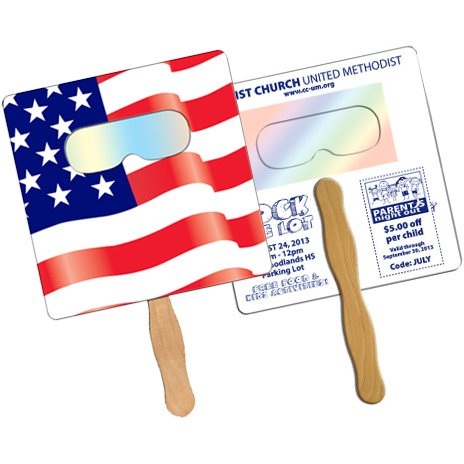 Sun Shade Square Flag Hand Fans