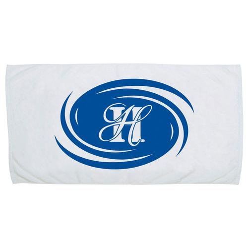 "Velour White Beach Towels, 30"" x 60"""