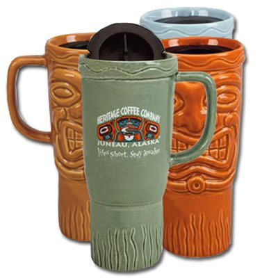 16 oz. Ceramic Tiki Travel Mugs