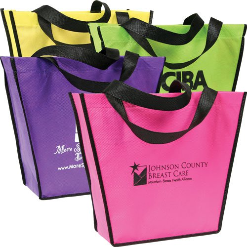 10 x 12 Non-Woven Poly Carnival Reusable Shopping Bags