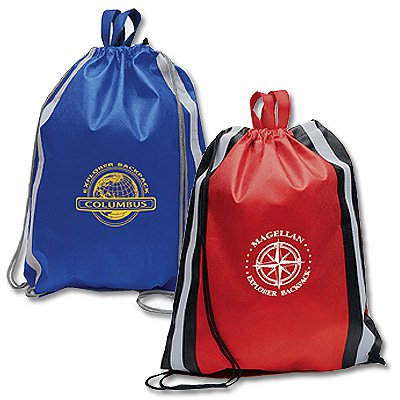 Large Non-Woven Drawstring Bags with Reflective Stripes