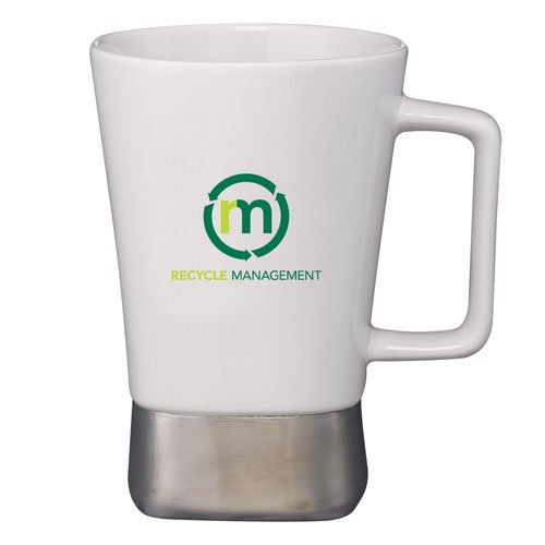 16 oz. Ceramic Desk Mug with Stainless Steel Base