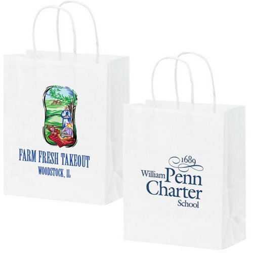 8 x 10.25 White Kraft Paper Shopping Bags