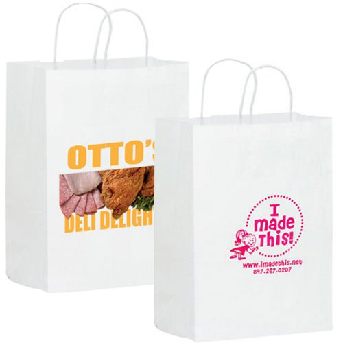 10 x 13 White Kraft Paper Shopping Bags