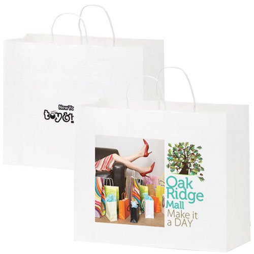 16 x 12 White Kraft Paper Shopping Bags