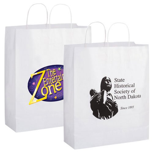 16 x 19 White Kraft Paper Shopping Bags
