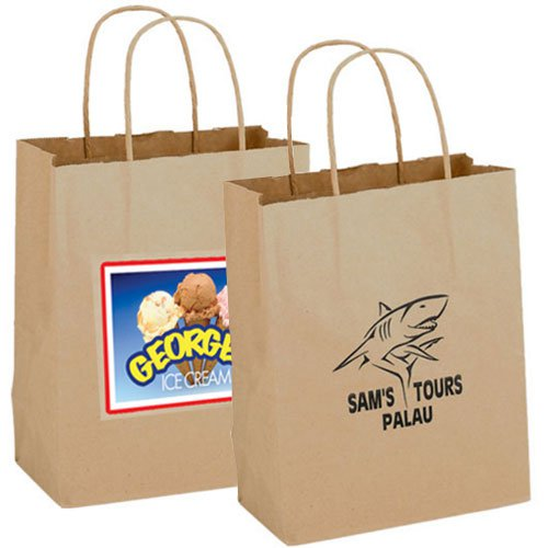 8 x 10.25 Recycled Natural Kraft Paper Shopping Bags