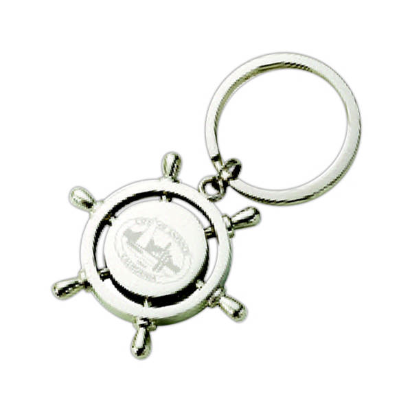 Polished Nickel Ship Navigator Wheel Key Chains