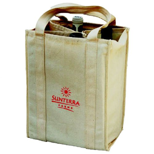 9 x 12 4 Bottle Biodegradable Cotton Wine Totes