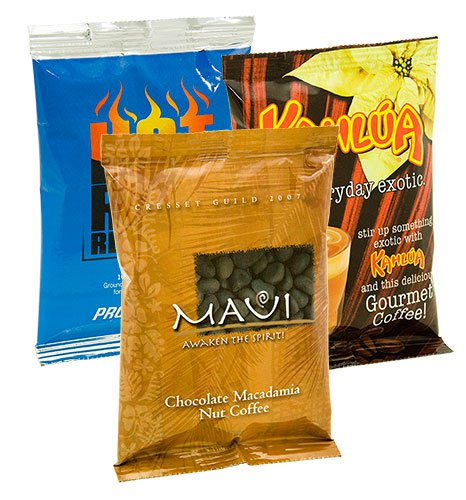 Gourmet Coffee Packs, Full Color Bags, One Pot