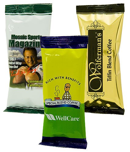 Gourmet Coffee Packs, Full Color Tall Bags, One Pot