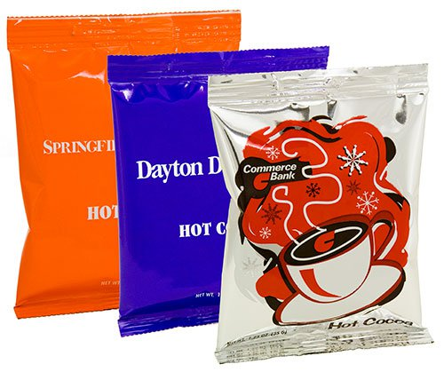 Gourmet Hot Chocolate Packs, Full Color Bags, One Mug