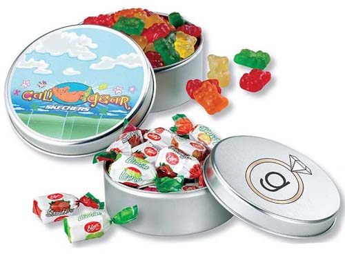 Large Round Filled Candy Tins