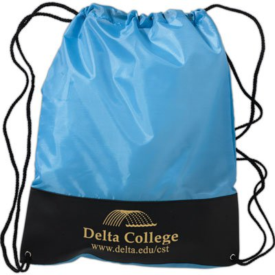 Two-Toned Polyester and Vinyl Drawstring Bags