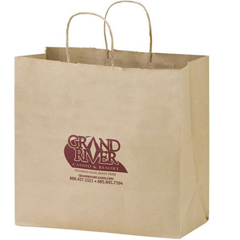 13 x 12.75 Recycled Kraft Paper Carry Out Bags