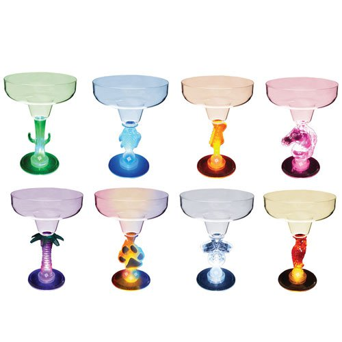 12 oz. LED Blinking Margarita Glasses - Novelty Stem