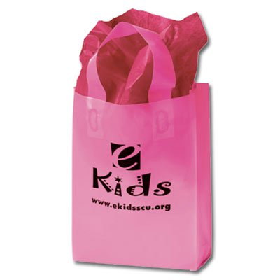 8 x 11 Pink Frosted Plastic Shopping Bag w/ Soft Loop Handle