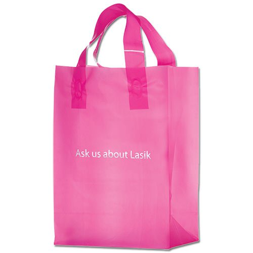 8 x 11 Pink Frosted Plastic Plastic Bags, Foil Stamped