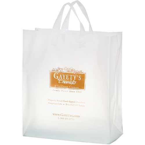 16 x 18 x 6 Frosted Plastic Shopping Bags, Foil Stamped