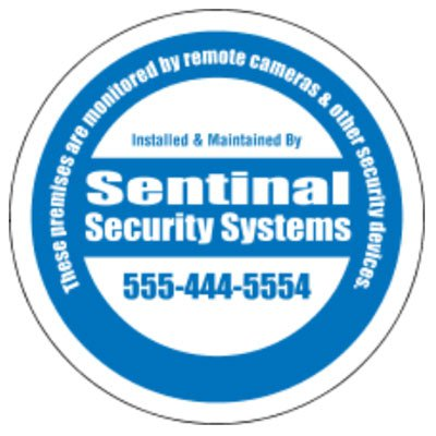 "Security Decals - 3"" Circle - White Vinyl"
