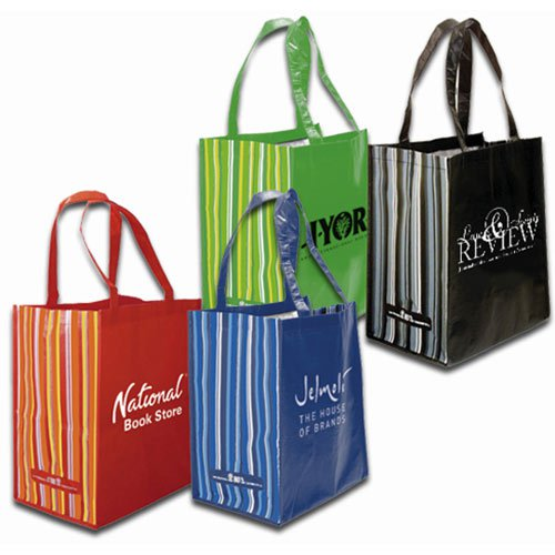 12 x 14 80% Recycled PET Striped Tote Bags