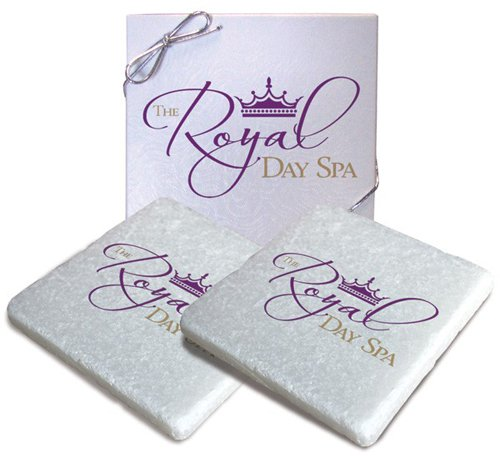 4 x 4 Sparkling Marble Tumbled Stone Coaster, Boxed Set of 2