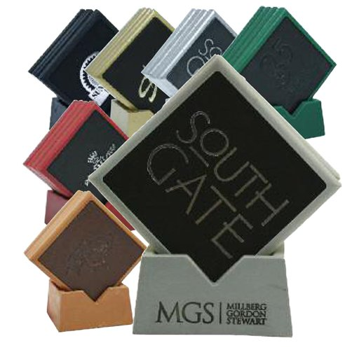 Square Stone & Leather Coaster Sets