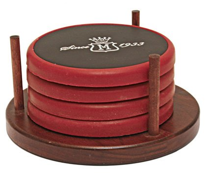 Colored Stone and Black Leather Coaster Sets