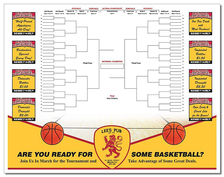 Basketball Bracket Paper Placemats