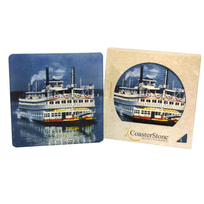 "4.25"" Square Absorbent Stone Coasters in Retail Gift Box"