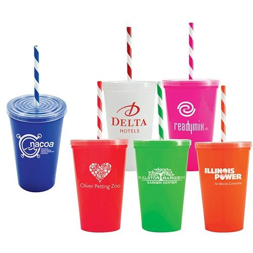 20 oz. Stadium Cups with Lid and Straw