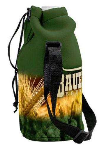 Full Color Neoprene Growler Cover with Drawstring and Strap