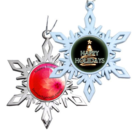 Snowflake Ornaments with Full Color Dome