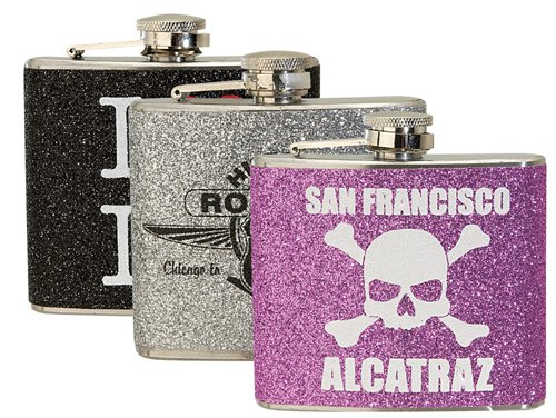 5 oz. Glitter Stainless Steel Hip Flasks