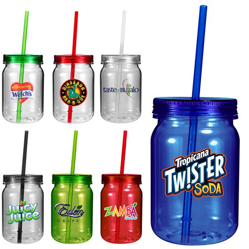 24 oz. Colored Plastic Mason Jars