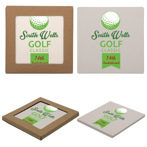 Economy Absorbent Stone Coasters - Square