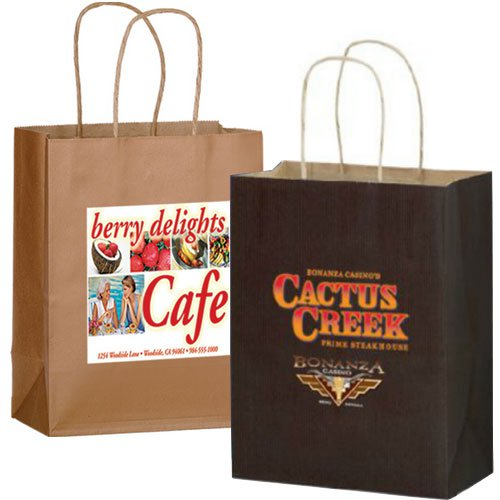 8 x 10.5 Matte Paper Shopping Bags - Full Color Imprint