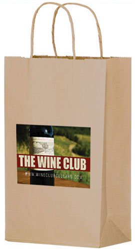 Brown Kraft Paper 2 Bottle Wine Bags - Full Color