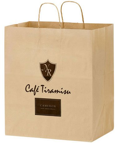 14.5 x 16.25 x 9.5 Brown Kraft Paper Carry Out Bags