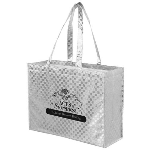 16 x 13 Metallic Gloss Designer Totes With Pattern Finish