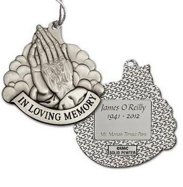 Praying Hands Memorial Ornaments