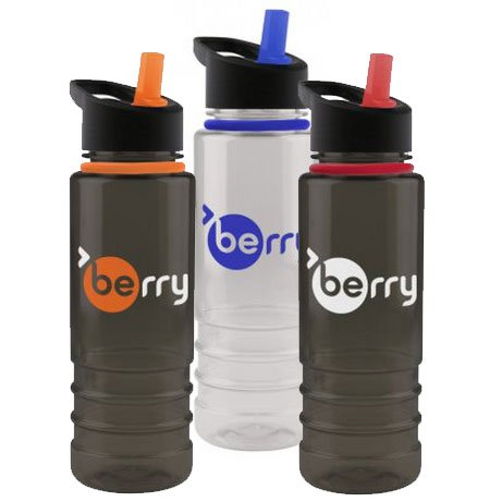 24 oz. Two-Tone Tritan Bottles with Flip Straw Lid