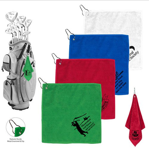 "12"" x 12"" Microfiber Golf Towel with Metal Grommet and Clip"
