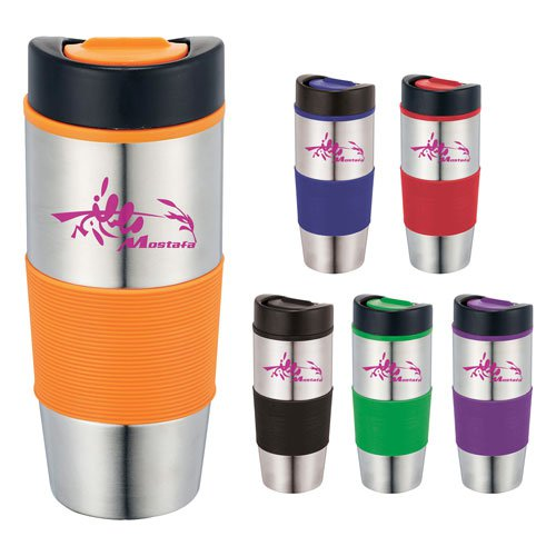 14 oz. Stainless Steel Tumblers with Colored Rubber Grips