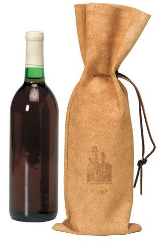 Full Grain Leather Drawstring Wine Bag