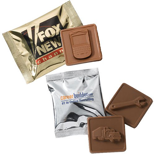 3-D Stock Kosher Chocolate Squares w/ Custom Wrapper